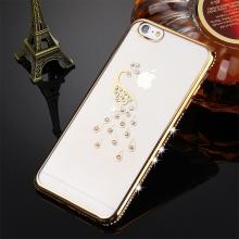 Kryt pro Apple iPhone 6 / 6S gumový s lesklými kamínky - páv - zlatý