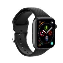 Řemínek pro Apple Watch 41mm / 40mm / 38mm - 3D textura - silikonový - černý