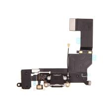 Napájecí a datový konektor s flex + audio jack konektor + mikrofon pro Apple iPhone SE - černý - kvalita A+
