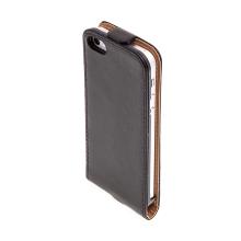 Flipové vyklápěcí pouzdro pro Apple iPhone 5 / 5S / SE s texturou kůže - černé