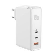 Nabíječka / adaptér BASEUS pro Apple iPhone / iPad / MacBook - 2x USB-C + USB - 120W + USB-C kabel - bílá