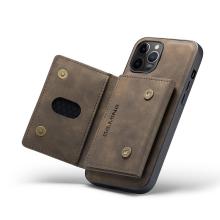 Kryt DG.MING pro Apple iPhone 13 Pro - stojánek + odnímatelná peněženka - umělá kůže - hnědý