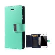 Pouzdro Mercury ve stylu peněženky s magneticky uzavíracím klipem pro Apple iPhone 6 Plus / 6S Plus - tyrkysovo-modré