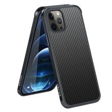 Kryt SULADA pro Apple iPhone 12 / 12 Pro - gumový / kovový - karbonová textura - průhledný - černý