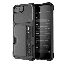 Kryt pro Apple iPhone 6 Plus / 6S Plus / 7 Plus / 8 Plus - umělá kůže / gumový - pouzdro na kartu - černý