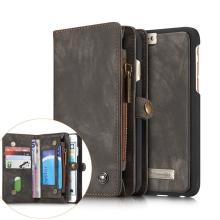 Pouzdro pro Apple iPhone 6 / 6S - peněženka + odnímatelný kryt na telefon - prostor na doklady - umělá kůže - šedý