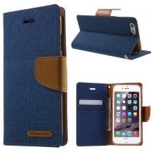Vyklápěcí pouzdro Mercury Canvas Diary pro Apple iPhone 6 / 6S se stojánkem a prostorem na osobní doklady - modro-hnědé