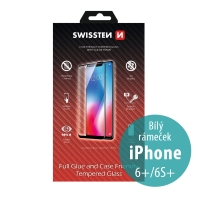 Tvrzené sklo (Tempered Glass) SWISSTEN Case Friendly pro Apple iPhone 6 Plus / 6S Plus - 2,5D - bílý rámeček - 0,3mm