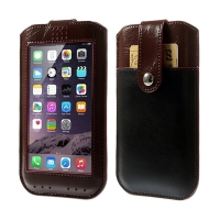 Ochranné pouzdro pro Apple iPhone 6 Plus / 6S Plus s magnetickým uzavírání a prostorem pro platební kartu - hnědo-černé