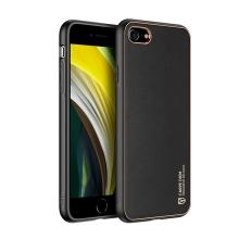 Kryt DUX DUCIS Yolo pro Apple iPhone 7 / 8 / SE (2020) - umělá kůže - černý / zlatý