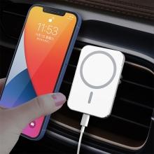 Držák do auta + bezdrátová nabíječka MagSafe kompatibilní - do ventilační mřížky - 360° - hranatý - bílý
