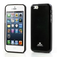 Gumový kryt Mercury pro Apple iPhone 5C - jemně třpytivý - černý