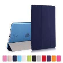 Pouzdro / kryt pro Apple iPad 9,7 (2017-2018) - funkce chytrého uspání + stojánek - tmavě modré / průsvitné modré