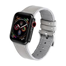 Řemínek pro Apple Watch 40mm Series 4 / 5 / 6 / SE / 38mm 1 / 2 / 3 - silikonový / kožený - šedý