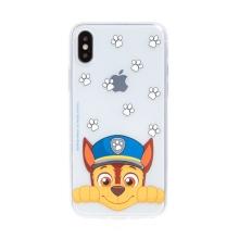 """Kryt """"Tlapková patrola"""" pro Apple iPhone X / Xs - gumový - Chase - průhledný"""