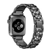 Řemínek pro Apple Watch 40mm Series 4 / 5 / 38mm 1 2 3 - s kamínky - kovový - černý
