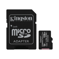 Paměťová karta micro SD XC KINGSTON 128 GB Canvas select Plus (class 10, UHS-I, 100 MB/s) + adaptér