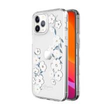 Kryt KINGXBAR pro Apple iPhone 12 / 12 Pro - s kamínky - gumový / plastový - bílé květy
