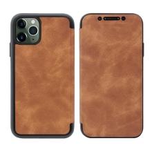 Pouzdro Pro Apple iPhone 11 Pro - umélá kůže / gumové - hnědé