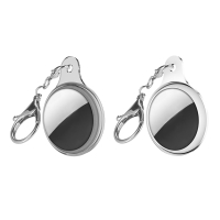 Kryt / obal ENKAY pro Apple AirTag - sada 2 kusů - průhledný + kovový - šedý