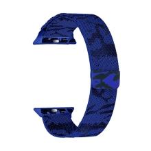 Řemínek pro Apple Watch 44mm Series 4 / 5 / 42mm 1 2 3 - magnetický - nerez - maskáčový - modrý / černý