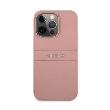 Kryt GUESS Saffiano pro Apple iPhone 13 Pro - umělá kůže - růžový