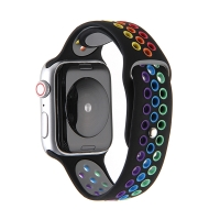 Řemínek pro Apple Watch 40mm Series 4 / 5 / 6 / SE / 38mm 1 / 2 / 3 - silikonový - duhový / černý