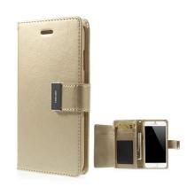 Pouzdro Mercury ve stylu peněženky s magneticky uzavíracím klipem pro Apple iPhone 6 Plus / 6S Plus - zlaté