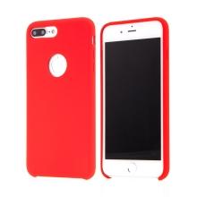 Kryt pro Apple iPhone 8 Plus - gumový - příjemný na dotek - výřez pro logo - červený