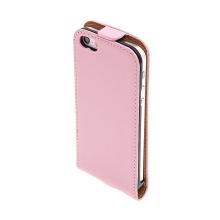 Flipové vyklápěcí pouzdro pro Apple iPhone 5 / 5S / SE s texturou kůže - růžové