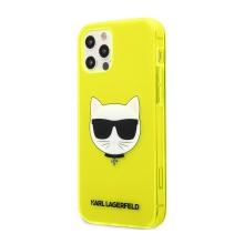 Kryt KARL LAGERFELD Choupette pro Apple iPhone 12 Pro Max - gumový - žlutý - třpytky