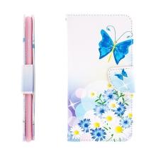 Pouzdro / kryt pro Apple iPhone 6 Plus / 6S Plus - prostor pro doklady / stojánek - motýl & květina