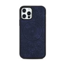 Kryt pro Apple iPhone 12 / 12 Pro - mandala - MagSafe kompatibilní - umělá kůže - modrý
