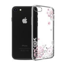 Kryt KAVARO pro Apple iPhone 7 / 8 - s kamínky Swarowski - plastový - květiny - průhledný / stříbrný