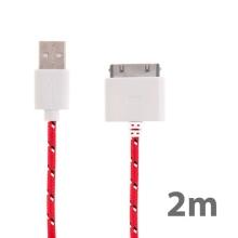 Synchronizační a nabíjecí kabel s 30pin konektorem pro Apple iPhone / iPad / iPod - tkanička - červený - 2m