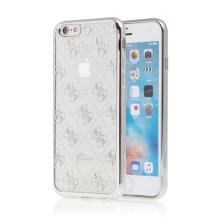 Kryt GUESS pro Apple iPhone 6 / 6S - gumový - průhledný / stříbrný