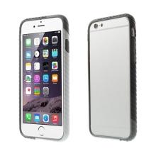 Plasto-gumový rámeček / bumper pro Apple iPhone 6 / 6S - vroubkatý černo-bílo-šedý