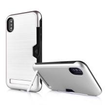 Kryt pro Apple iPhone X / Xs - prostor pro platební kartu a stojánek - stříbrný / černý