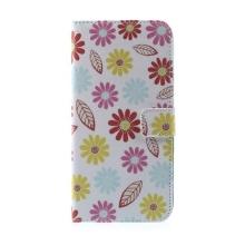 Pouzdro pro Apple iPhone 6 Plus / 6S Plus - stojánek a prostor pro umístění platebních karet - vzor květin a listů