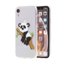 Kryt pro Apple iPhone Xr - gumový - průhledný / panda na větvi