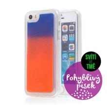 Kryt TACTICAL Glow pro Apple iPhone 5 / 5S / SE - pohyblivý svíticí písek - plastový - oranžový / modrý