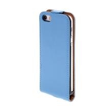 Flipové vyklápěcí pouzdro pro Apple iPhone 5 / 5S / SE s texturou kůže - modré