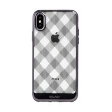 Kryt SULADA pro Apple iPhone X / Xs - gumový - průhledný / černá mřížka
