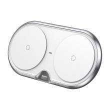 Bezdrátová nabíječka / podložka Qi BASEUS pro dvě zařízení - bílá
