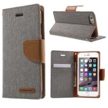 Vyklápěcí pouzdro Mercury Canvas Diary pro Apple iPhone 6 / 6S se stojánkem a prostorem na osobní doklady - šedo-hnědé