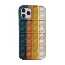 """Kryt pro Apple iPhone 12 / 12 Pro - bubliny """"Pop it"""" - silikonový - modrý / oranžový"""