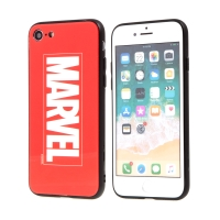 Kryt MARVEL pro Apple iPhone 7 / 8 - sklo / guma - červený