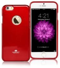 Kryt Mercury pro Apple iPhone 6 Plus / 6S Plus gumový s výřezem pro logo - jemně třpytivý - červený