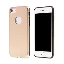Kryt ISMILE pro Apple iPhone 7 / 8 gumový - karbonový vzor - zlatý gold