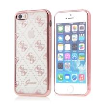 Kryt GUESS pro Apple iPhone 5 / 5S / SE - gumový - průhledný / Rose Gold
